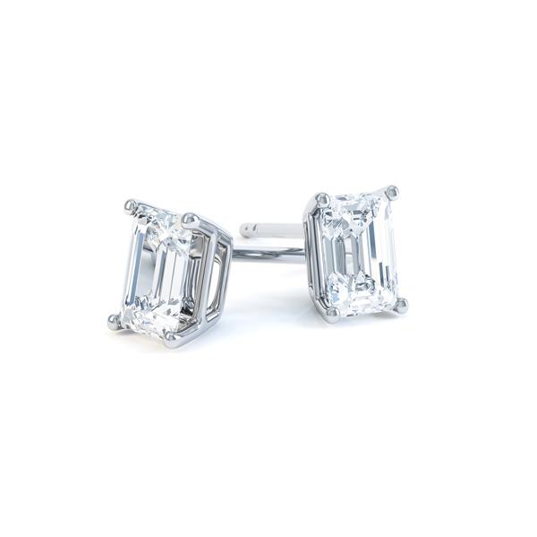 4 Claw Emerald Cut Diamond Stud Earrings