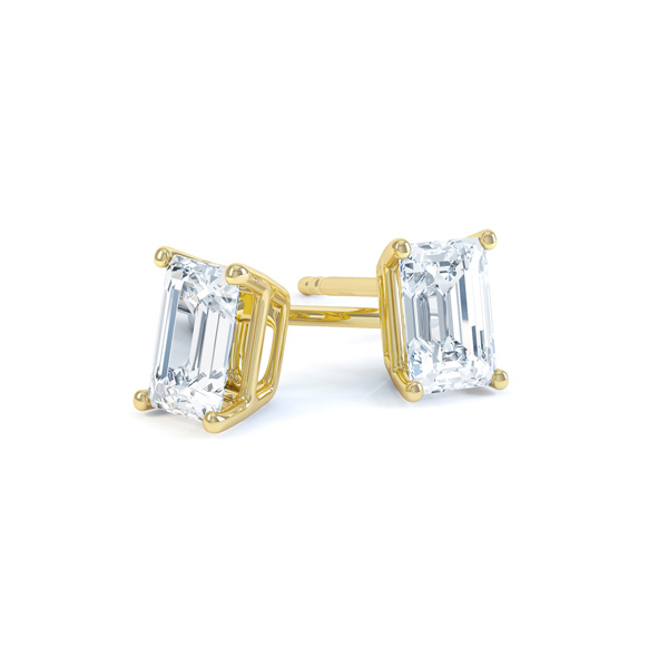4 Claw Emerald Cut Diamond Stud Earrings In Yellow Gold