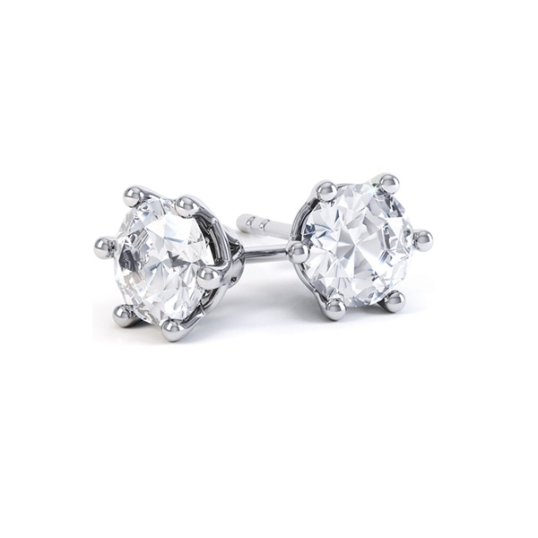 6 Claw Round Brilliant Cut Diamond Stud Earrings