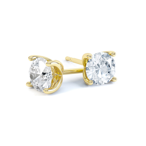 4 Claw Round Diamond Stud Earrings In Yellow Gold