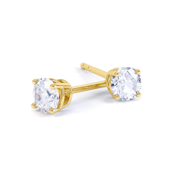 Classic 4 Claw Round Solitaire Diamond Earrings In Yellow Gold