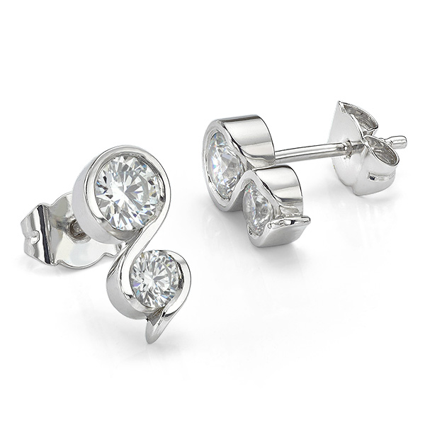 Two stone diamond swirl earrings in 18ct White Gold
