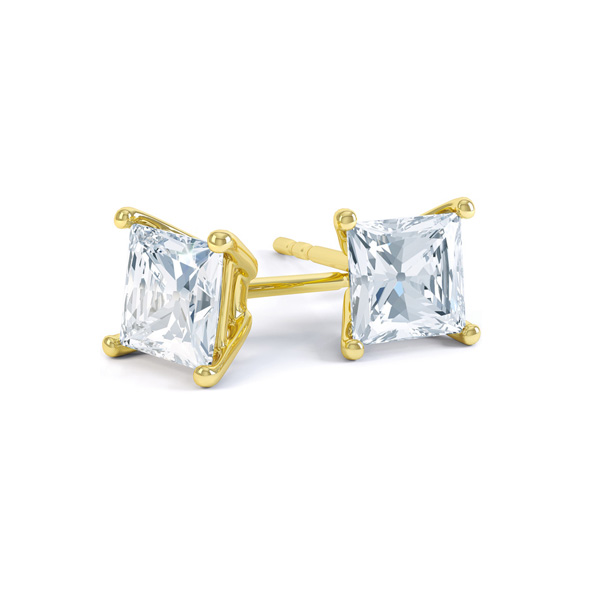 Classic 4 Claw Princess Cut Diamond Earrings In Yellow Gold