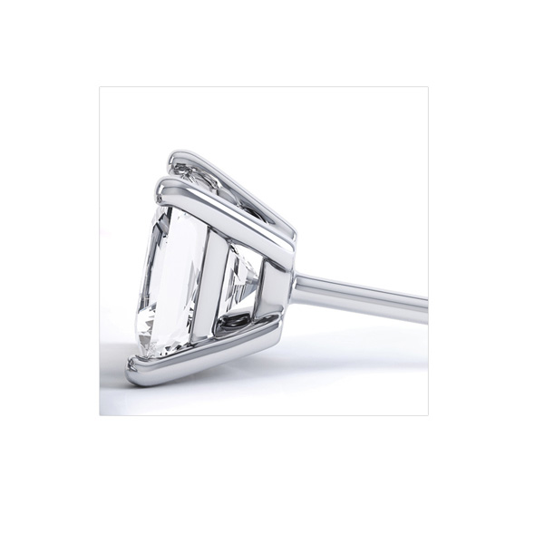 Classic 4 Claw Princess Cut Diamond Earrings Side View