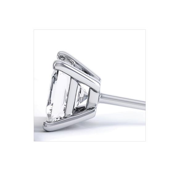 Classic 4 Claw Princess Cut Diamond Earrings Side View