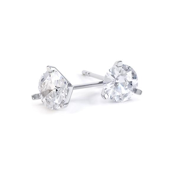 3 Claw Round Brilliant Cut Diamond Stud Earrings