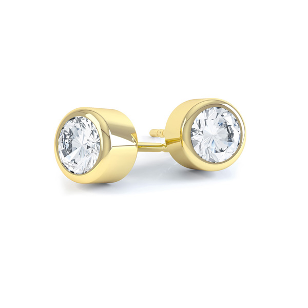 Cylindrical Bezel Round Diamond Stud Earrings In Yellow Gold