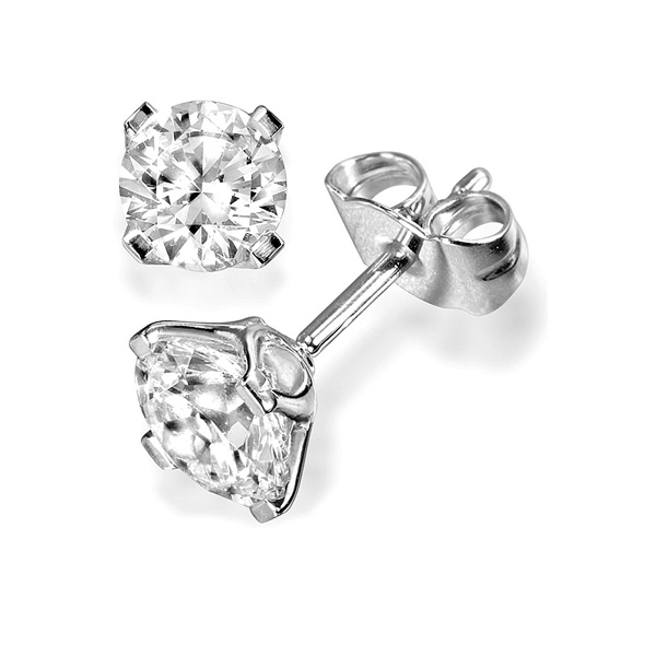 4 Claw Round Diamond Earrings Crown Setting