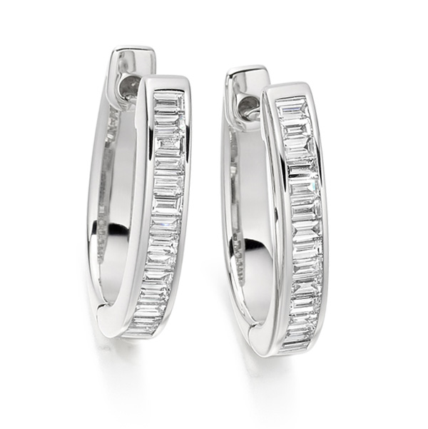 0.55cts Baguette Cut Diamond Hoop Earrings