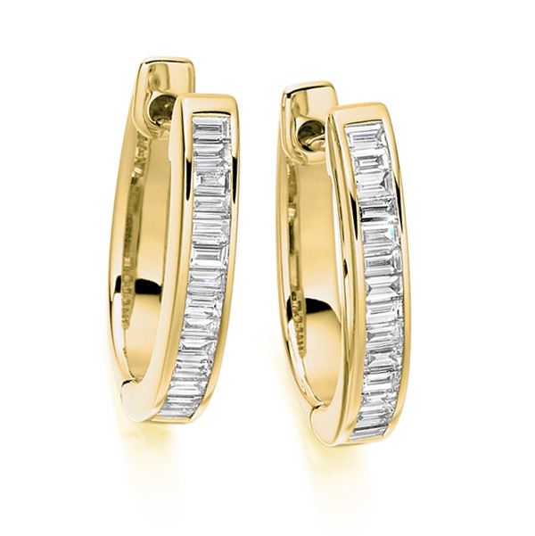 0.55cts Baguette Cut Diamond Hoop Earrings In Yellow Gold