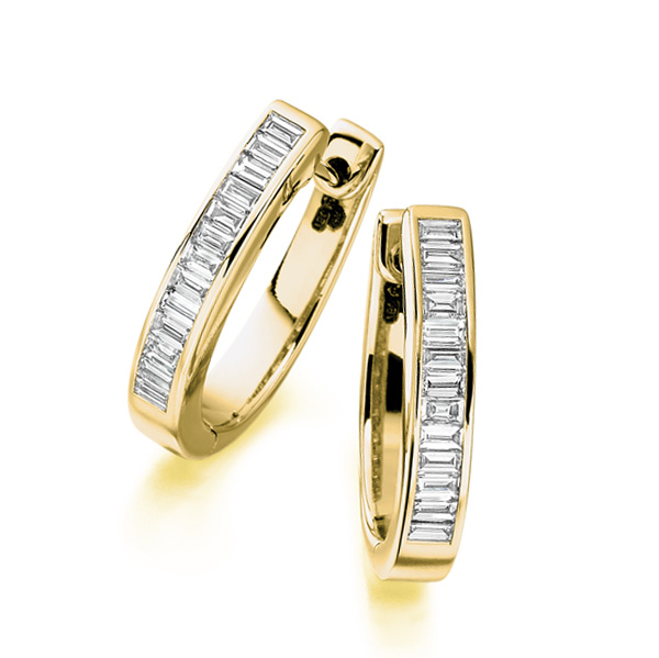 0.70cts Baguette Cut Diamond Hoop Earrings In Yellow Gold