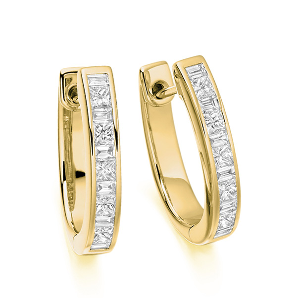 0.75cts Princess and Baguette Diamonds Hoop Earrings In Yellow Gold