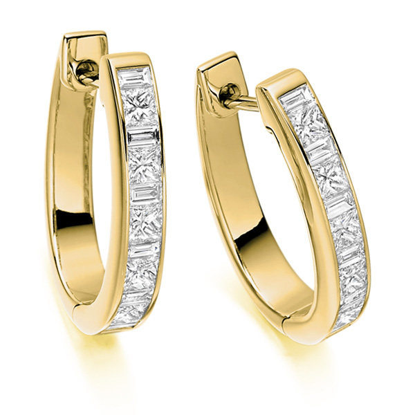 1.1 Carat Princess and Baguette Diamond Hoop Earrings In Yellow Gold