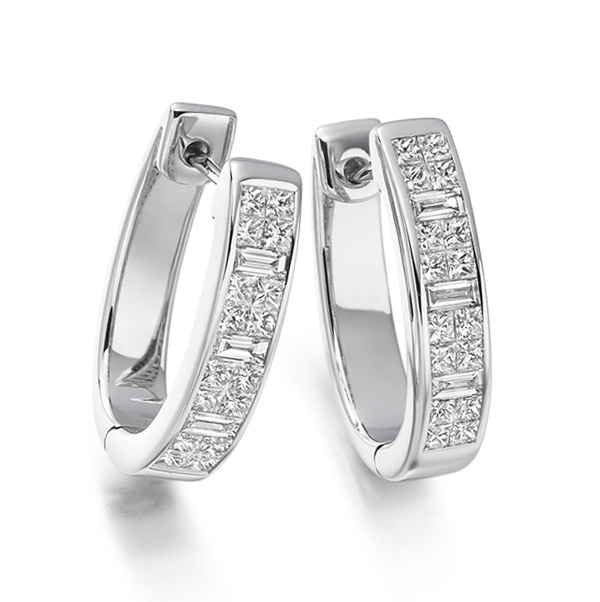 1.35cts Princess & Baguette Diamond Hoop Earrings