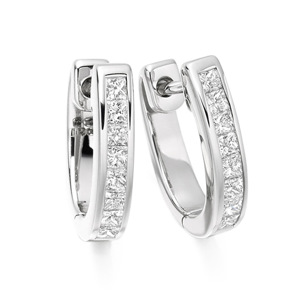 0.50cts Princess Cut Diamond Hoop Earrings