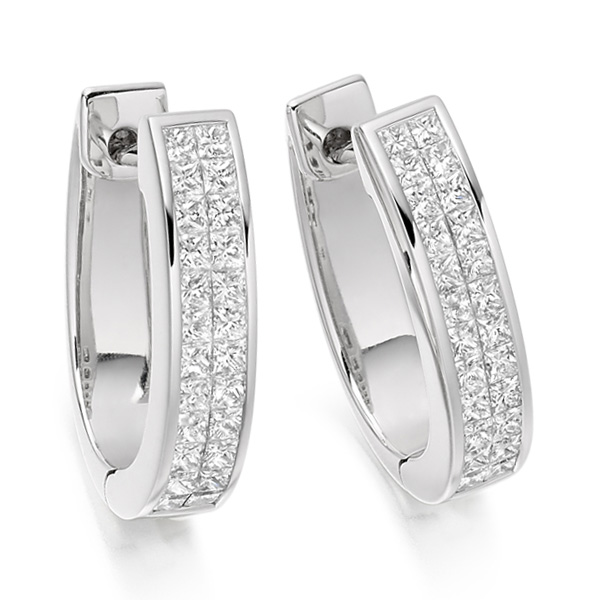 1 Carat 2 Row Princess Diamond Hoop Earrings