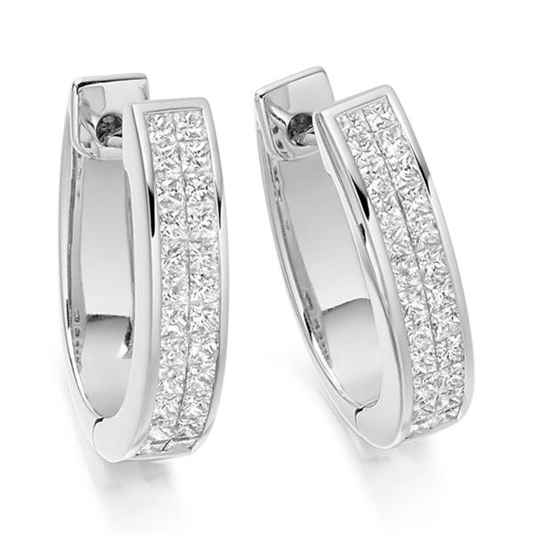 1 Carat 2 Row Princess Diamond Hoop Earrings