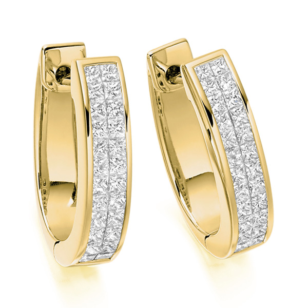 1 Carat 2 Row Princess Diamond Hoop Earrings In Yellow Gold