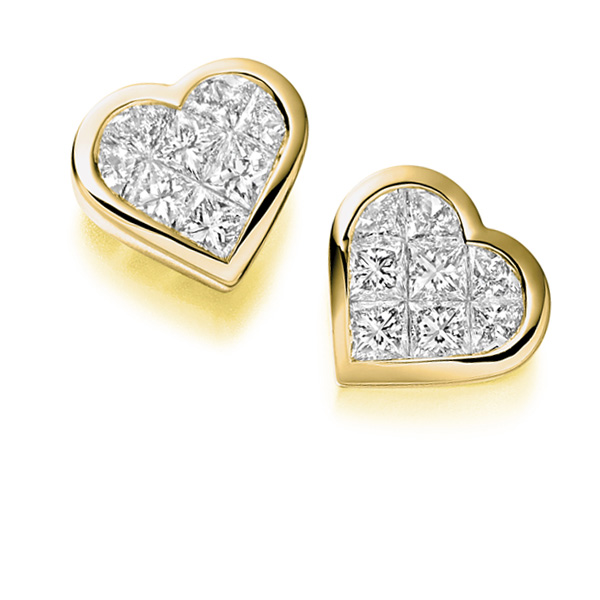 0.55cts 2 Row Princess Diamond Stud Earrings In Yellow Gold