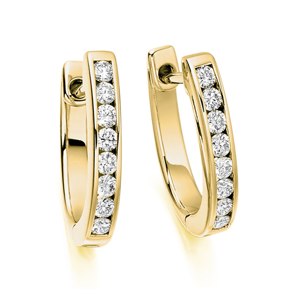 0.33cts Channel Set Round Diamond Hoop Earrings In Yellow Gold