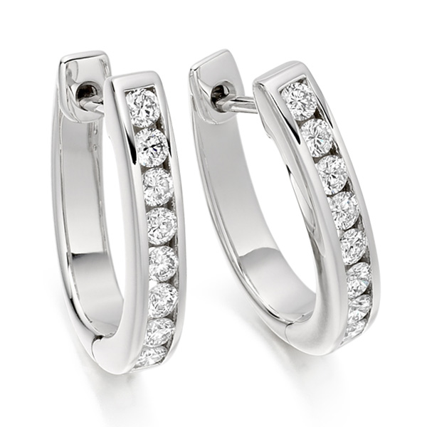 0.55cts Channel Set Round Diamond Hoop Earrings