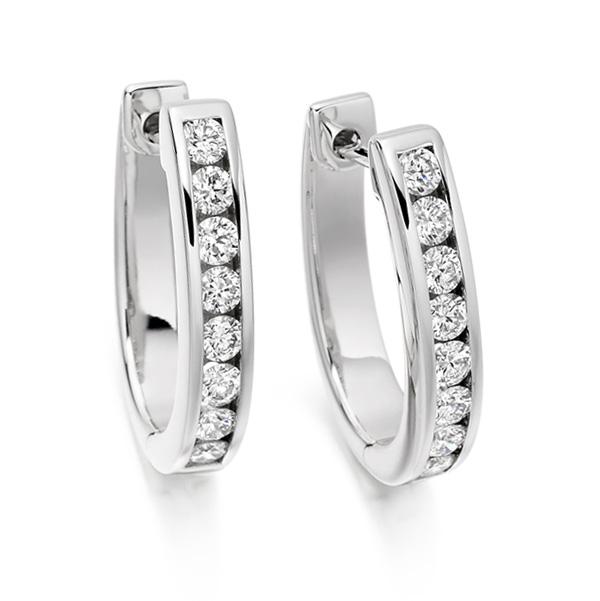 0.76cts Channel Set Round Diamond Hoop Earrings