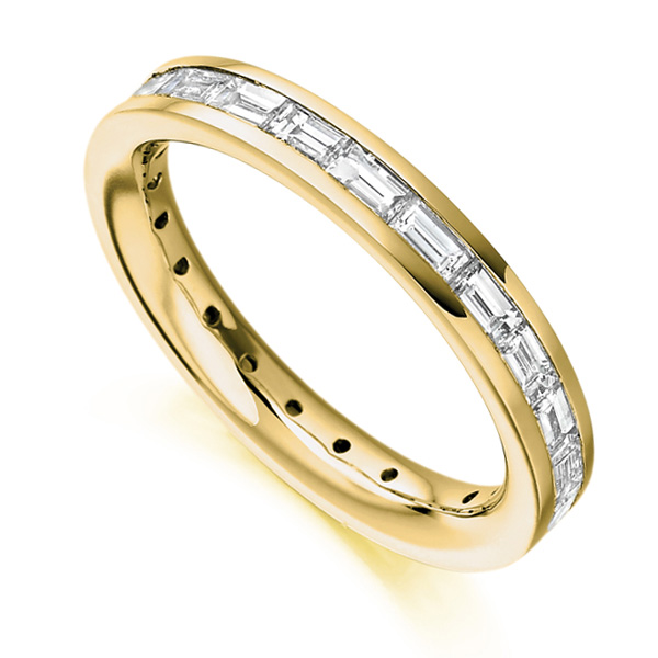 1.50cts Baguette Diamond Full Eternity Ring In Yellow Gold