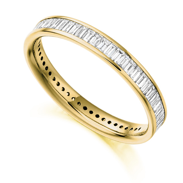 1.05cts Baguette Diamond Full Eternity Ring In Yellow Gold