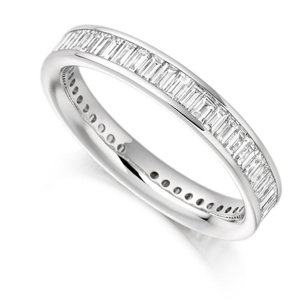 1.50cts Cross Set Baguette Diamond Full Eternity Ring