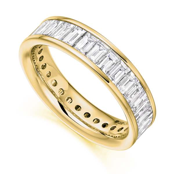 3 Carat Cross Set Baguette Diamond Full Eternity Ring In Yellow Gold