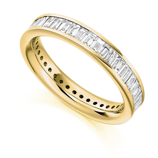 2 Carat Cross Set Baguette Diamond Full Eternity Ring In Yellow Gold