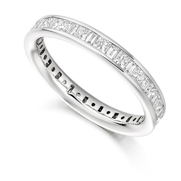1.5 Carat Princess & Baguette Diamond Full Eternity Ring