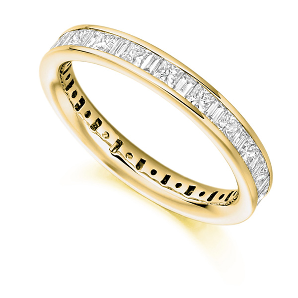 1.5 Carat Princess & Baguette Diamond Full Eternity Ring In Yellow Gold