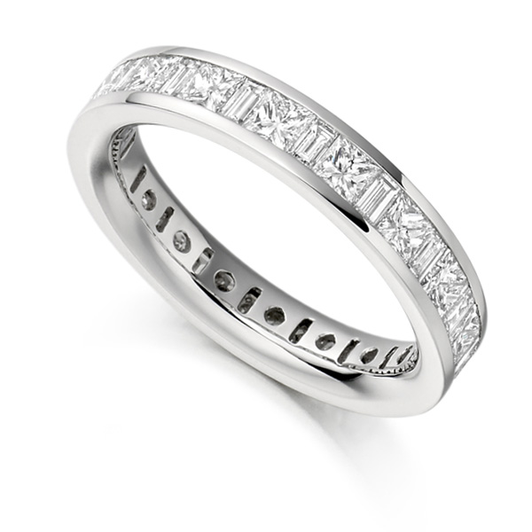 3 Carat Princess & Baguette Diamond Full Eternity Ring
