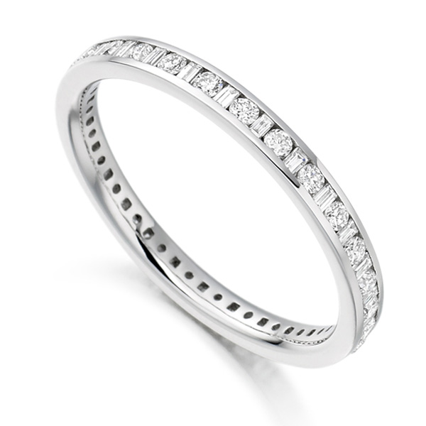 0.50cts Baguette & Round Diamond Full Eternity Ring