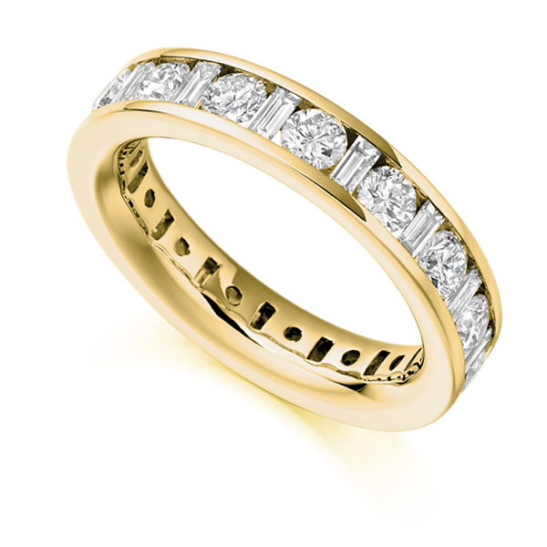 3 Carat Baguette and Round Brilliant Cut Full Diamond Eternity Ring In Yellow Gold