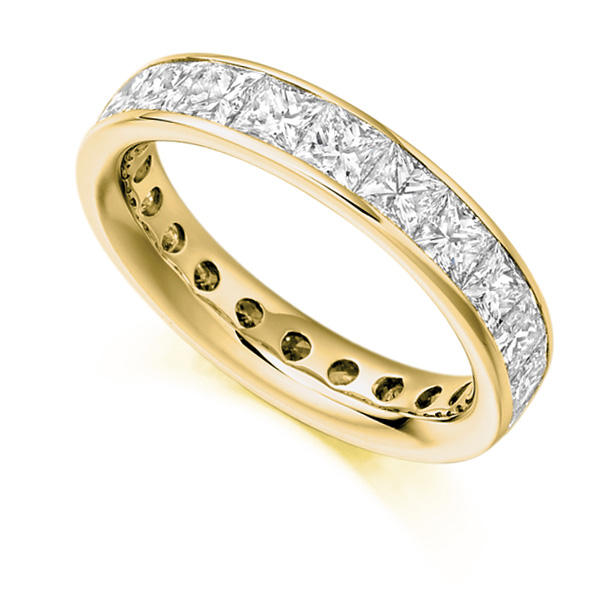 3.30 Carat Princess Cut Diamond Full Eternity Ring In Yellow Gold