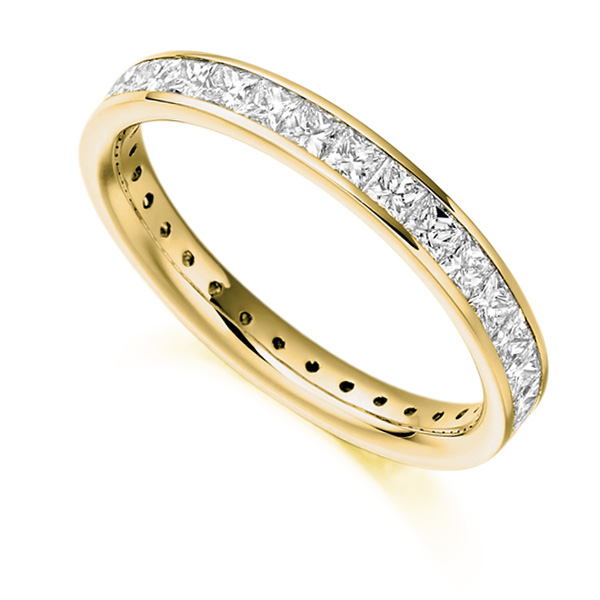 1.60cts Princess Diamond Full Eternity Ring In Yellow Gold