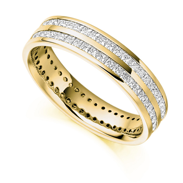 1.50cts Full Diamond Eternity Ring with Double Channel In Yellow Gold