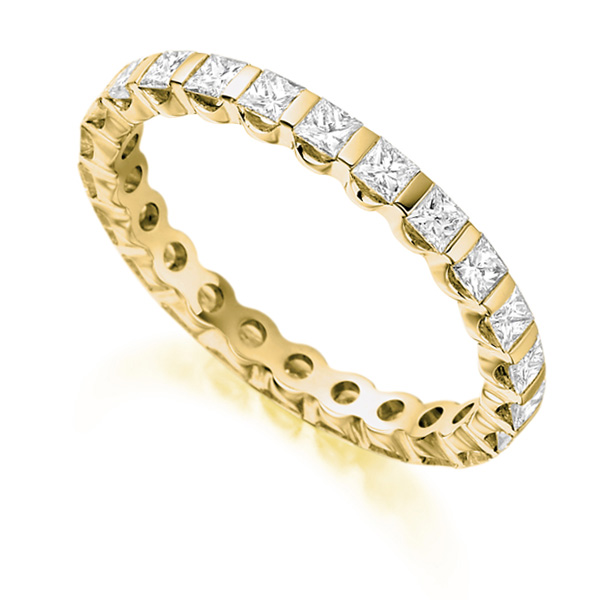 1.05 Carat Bar Set Full Diamond Eternity Ring In Yellow Gold