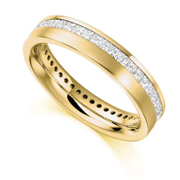 1 Carat Offset Channel Full Diamond Eternity Ring In Yellow Gold