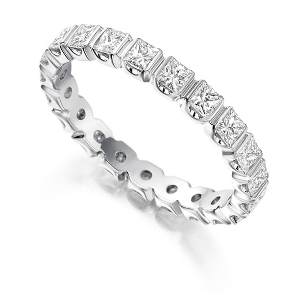 1.5 Carat Bar Set Princess Full Diamond Eternity Ring
