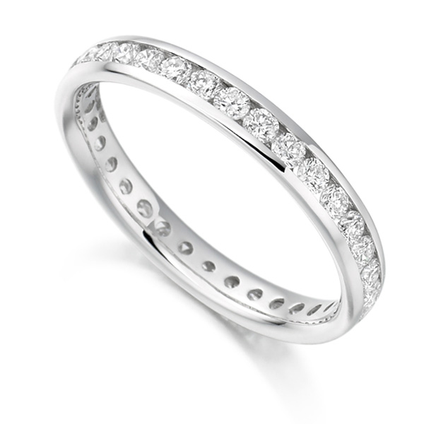 0.90cts Round Diamond Full Eternity Ring Channel Set