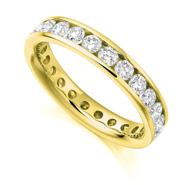 2 Carat Round Diamond Full Eternity Ring Channel Set In Yellow Gold