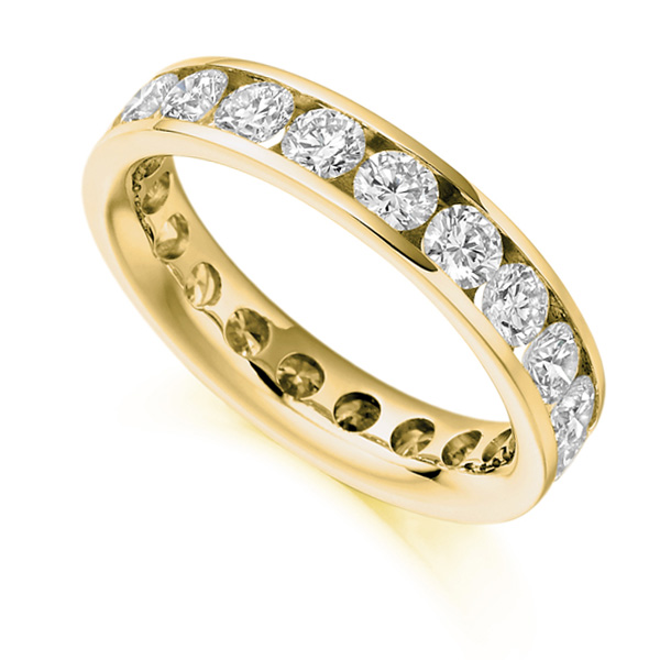 3 Carat Round Diamond Full Eternity Ring Channel Setting In Yellow Gold