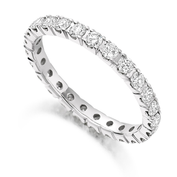 1 Carat Round Diamond Full Eternity Ring Claw Setting