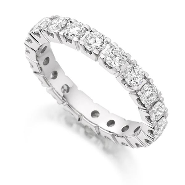 2 Carat Round Diamond Full Eternity Ring Claw Setting