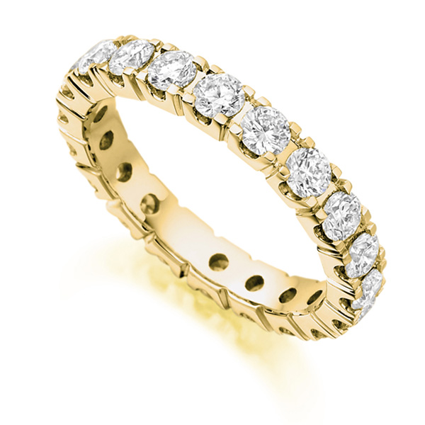 2 Carat Round Diamond Full Eternity Ring Claw Setting In Yellow Gold