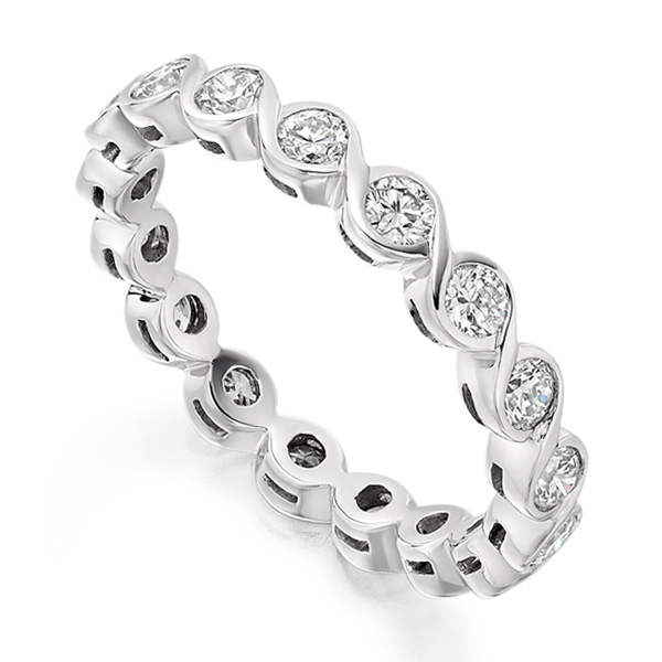 1 Carat Bezel Set Round Diamond Full Eternity Ring