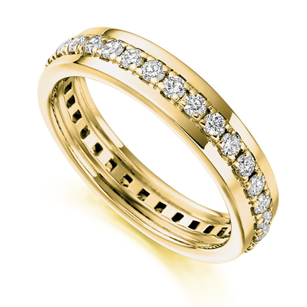 0.80cts Grain Set Full Diamond Eternity Ring In Yellow Gold